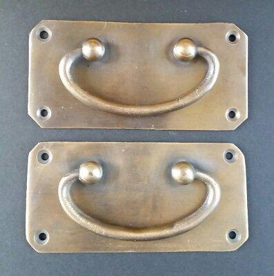 2 Antique Vintage Style Solid Brass Box Trunk Chest Door Handles 4 1/4