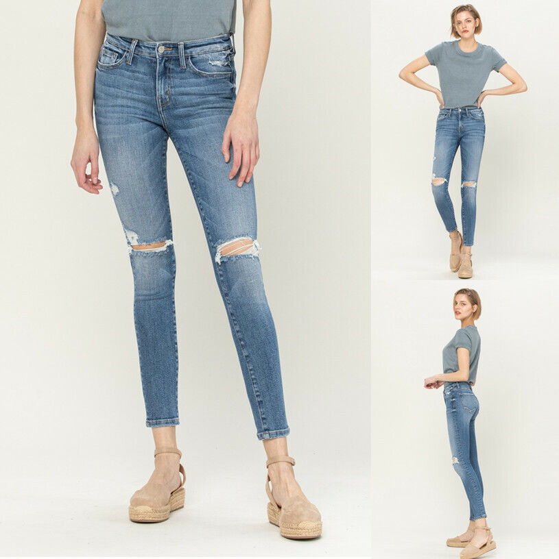 Women's Stretch High Rise Distressed Ankle Skinny Slim Denim Jean Flying Monkey Clothing, Shoes & Accessories
