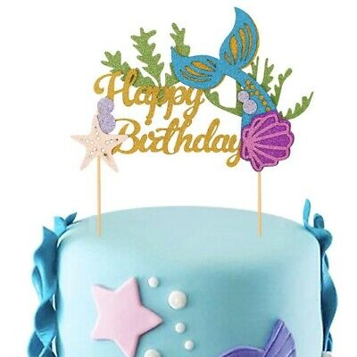 "Tortentopper ""Meerjungfrau"" Glitzernd Happy Birthday Cake Topper"