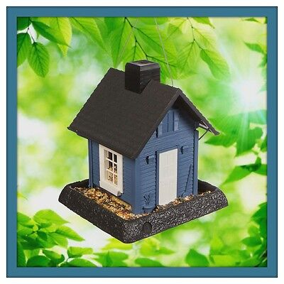 Blue Cottage House Bird Feeder - Durable Molded Plastic - Holds 5 lb of Seed !