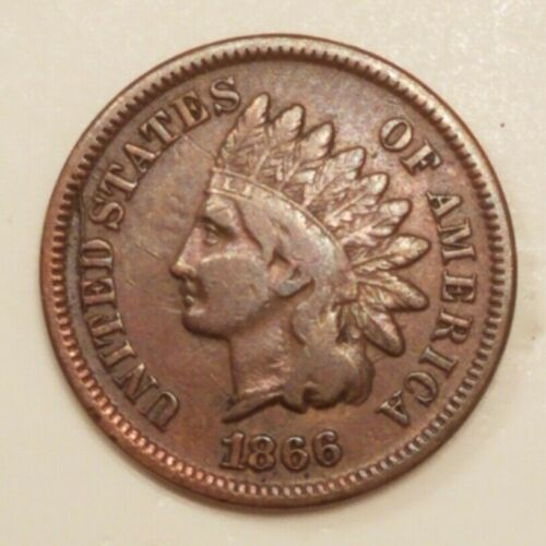 1866 INDIAN HEAD CENT <> MAJOR DIE CRACK @ 9:00 OBV <> VERY GOOD PLUS VG+