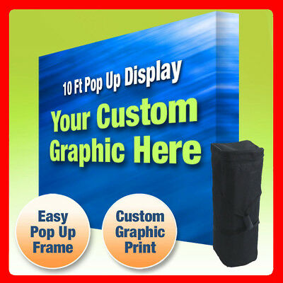 10ft Collapsible Pop Up Display With Tension Fabric Backdrop Print Included
