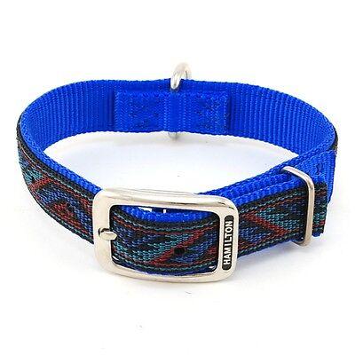 "HAMILTON ST Nylon Dog Collar, 18"" x 1"", Blue with Southwest Overlay"