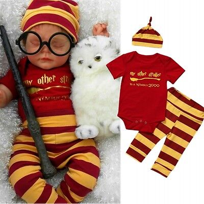 Harry Potter Infant Baby Boy Girl 3PCS Romper+Pants Leggings+Hat Outfits - Harry Potter Outfits