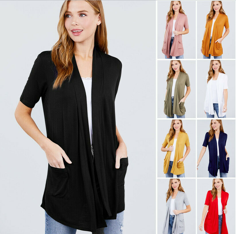 Women's Elbow Sleeve Open Front Cardigan w/ Pockets Clothing, Shoes & Accessories