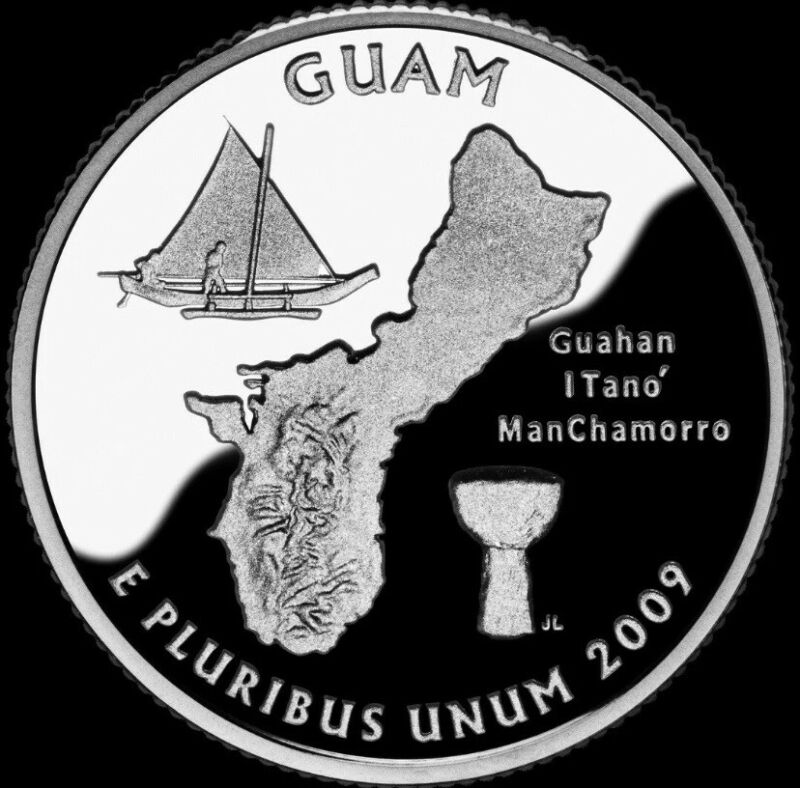 2009S US GUAM 90% SILVER STATE ATB QUARTER PROOF 25¢ DEEP CAMEO GEM