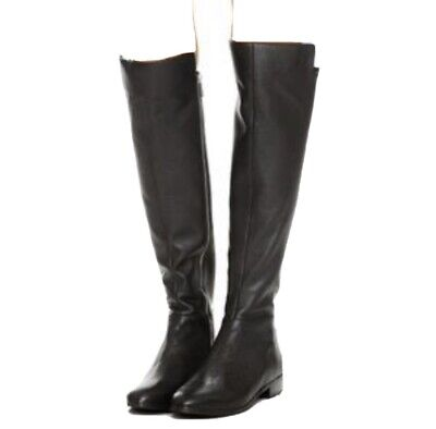 MICHAEL KORS Bromley BOOTS $159 Flat Knee High BLACK LEATHER & STRETCH Riding