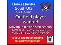 Football player under 13 wanted for a great team
