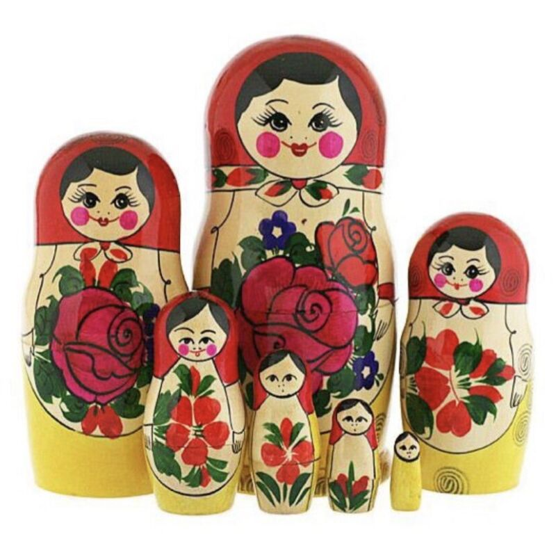Matryoshka Doll 7 PCs - Nesting Dolls Hand Carved Russian Матрешка Original New