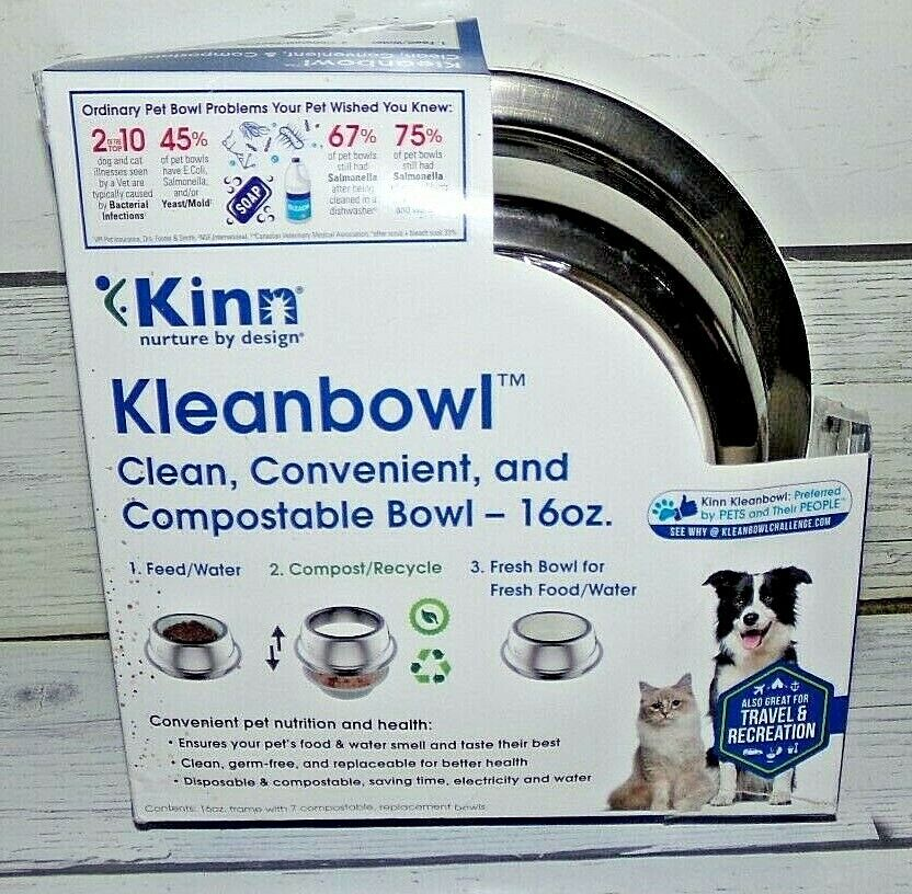 New 16 oz Kinn Kleanbowl The Healthier Pet Food & Water Bowl for Dogs & Cats