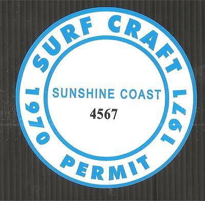 Sunshine coast 1970 1971 surfboard surf craft permit sticker decal surfing