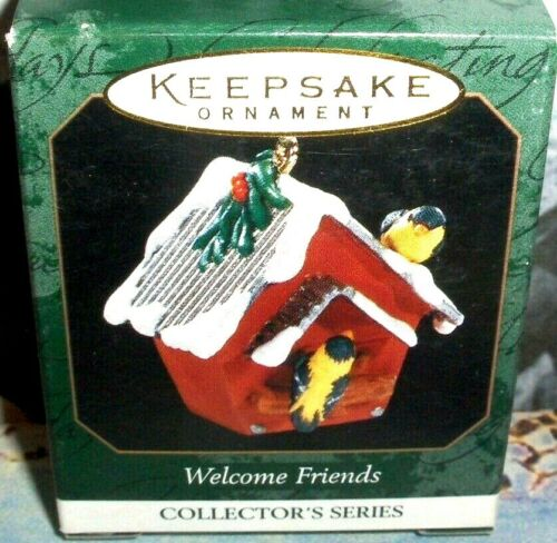 Welcome Friends`1999`Miniature-Bright Yellow Goldfinches-Hallmark Ornament->NICE