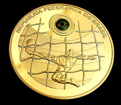 World Cup 2014 Gold Coin Brazil Flag Medal Christ the Redeemer Jesus Football UK