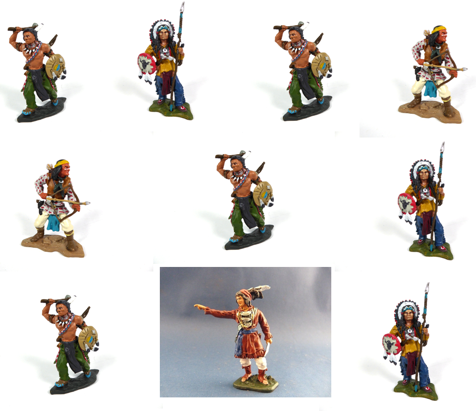 Set of 10 Native Americans Figurines Far West 1:32 - Geronimo Sitting Bull IL1