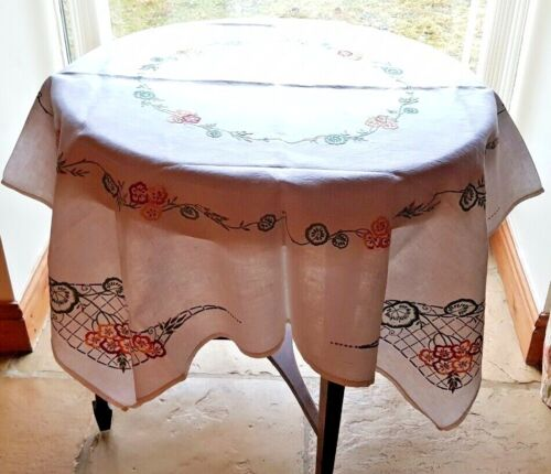 """EXQUISITE VINTAGE SQUARE 50"""" HAND EMBROIDERED FLORALS WHITE LINEN TABLECLOTH"""
