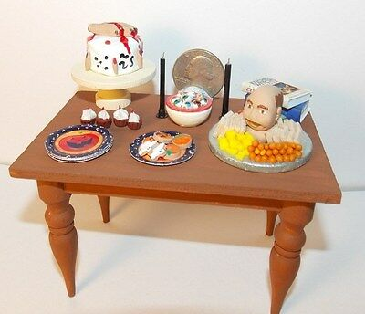 Dollhouse Miniature Halloween Party Table Food Filled 1:12   1 inch scale