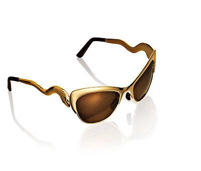 H&M ANNA DELLO RUSSO GOLD TINTED SUNGLASSES WITH CHAIN BNIB NEW maison hm