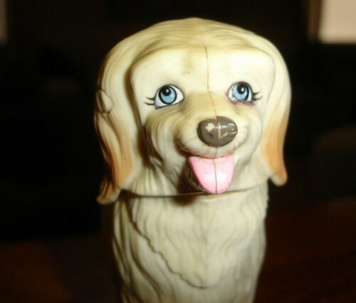 "4"" Neat old vintage fluffy Maremma SHEEPDOG blue eye mobile dog TAIL & HEAD MOVE"