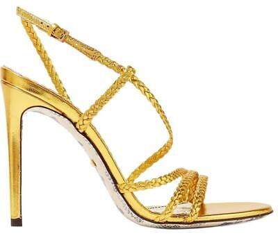 Gucci Gold Haines Braided Metallic Leather Slingback Sandals Size 8 EU 38