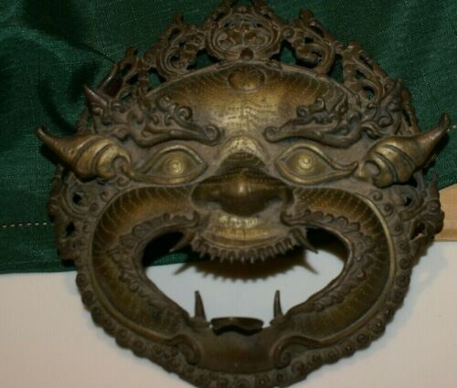 """Vintage Old Hand Crafted Brass Demon Face Wall Hanging Mask 9"""" x 8"""" x 3""""D"""