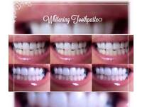 Whitening toothpaste. NO PEROXIDE AND NO BLEACH