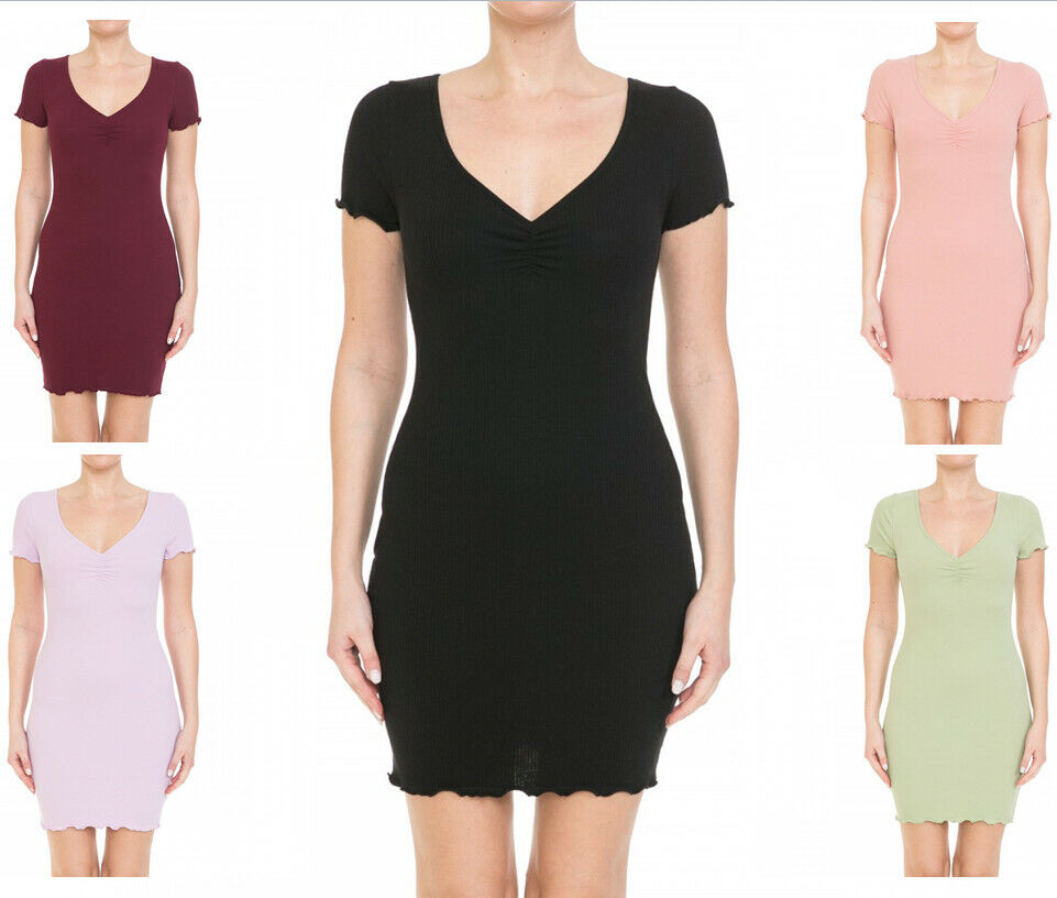 Women's Ruched V Neck Ribbed Knit Lettuce Short Sleeve Mini Bodycon Dress Clothing, Shoes & Accessories