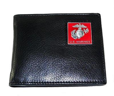 U.S. Marine Corps Leather Bi-fold Wallet Black USMC Fold Black Leather