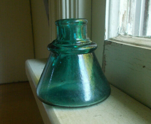 BEAUTIFUL DEEP TEAL 1880s CONE INK BOTTLE WITH CARTERS PEENED OUT OF MOLD