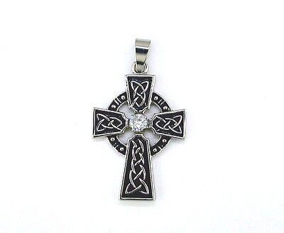 Celtic Cross with Cubic Zirconia Pendant Stainless Steel Celtic Zirconia Cross