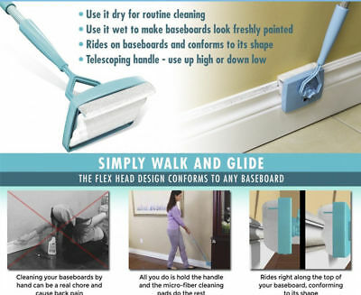 Baseboard-Buddy-Cleaning-Mop-Simply-Walk-amp-Glide-Extendable-Microfiber-Dust-Br