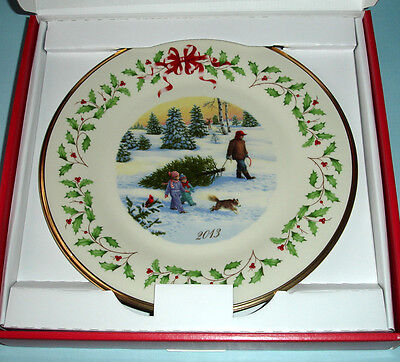 Lenox Holiday Collector Plate 2013 Cutting Down Christmas Tree Limited $120 New