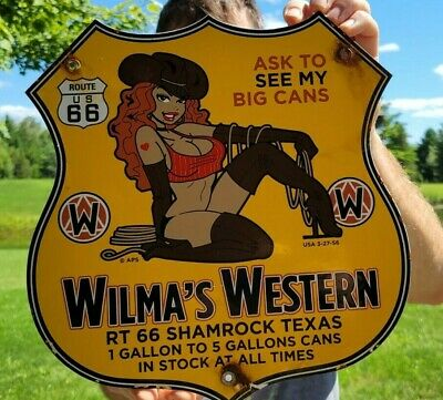 VINTAGE DATED '56 WILMA'S WESTERN GASOLINE CAN PORCELAIN ENAMEL GAS STATION SIGN