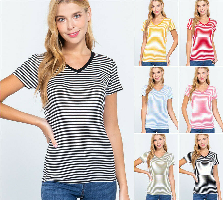 Women's Striped Short Sleeve V-Neck Soft T-Shirt Rayon Jersey Top Clothing, Shoes & Accessories