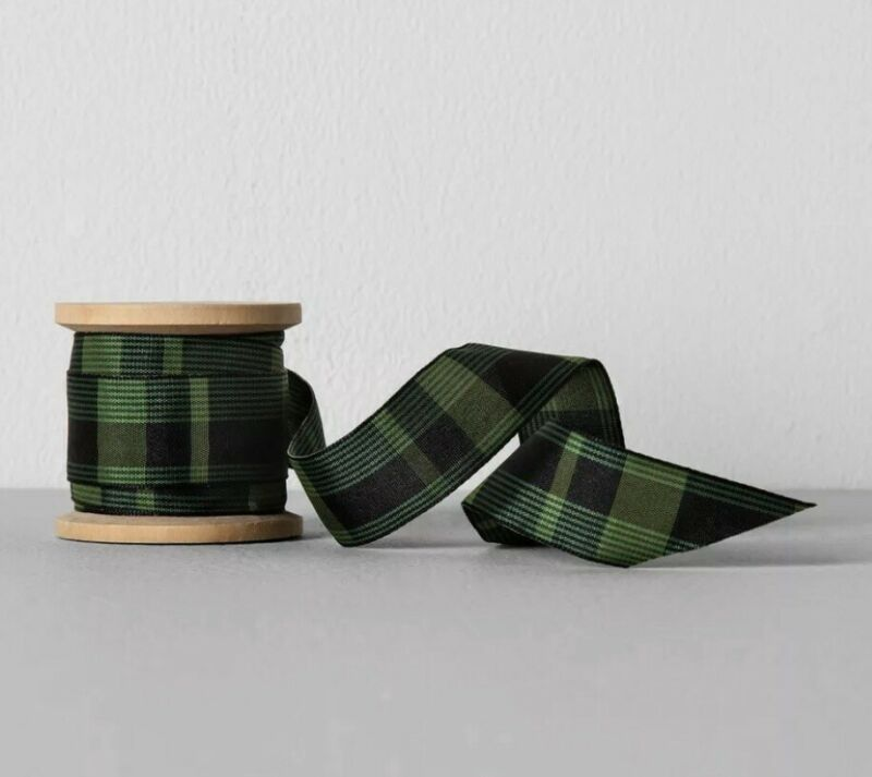 "Plaid Fabric Ribbon 1"" x 5 yards Green/Black - Hearth & Hand with Magnolia"