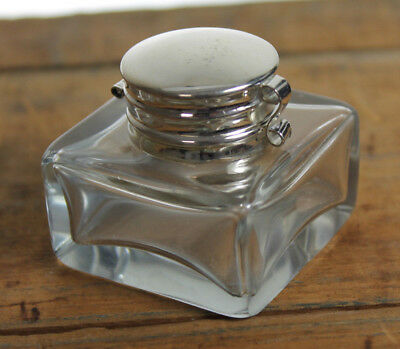 Vintage Antique Style Square Clear Glass Inkwell Bottle ink