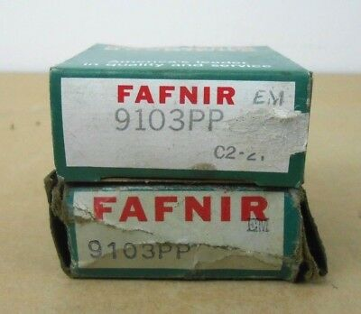 Lot Of 2 Nib Fafnir 9103pp Groove Ball Bearing 17mm X 35mm X 10mm Double Sealed