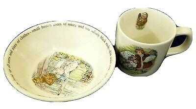 Wedgwood Beatrix Potter Lucie and Mrs Tiggy Winkle Set Cup & Porringer Bowl