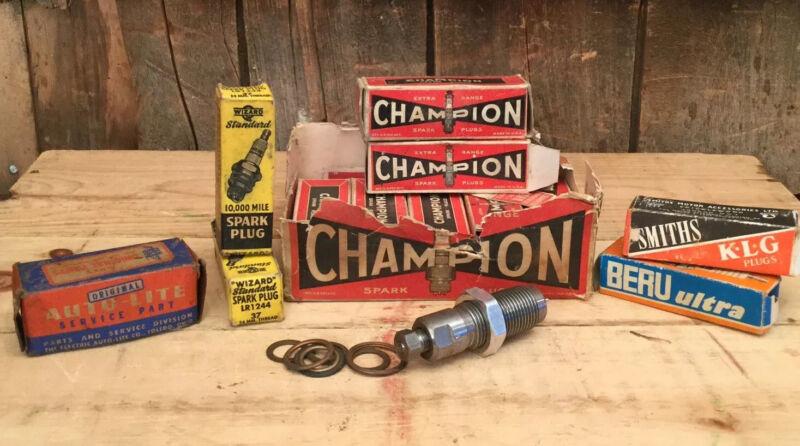 Vintage Mixed Lot 12 NOS Champion Spark Plugs & Misc Car Parts Auto Car Garage