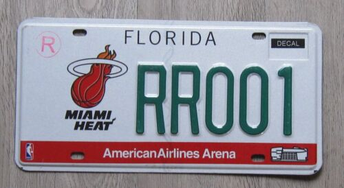 Florida License Plate NBA Miami Heat Tag RROO1 (green letters)