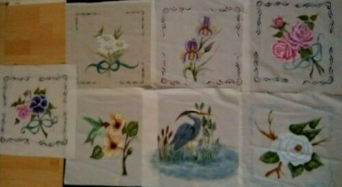Lot Of 7 Hand Painted Quilt Blocks, Floral, Signed And Dated 14 x 14, Vintage