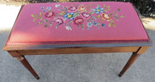 Antique Solid Mahogany Hand Stitched Needlepoint TAPESTRY Window Piano Bench 30""