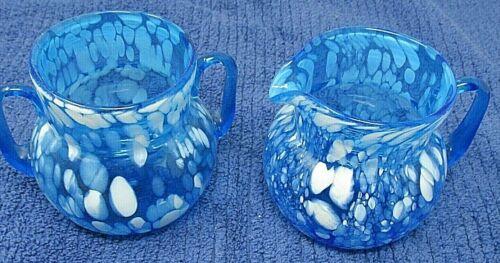 VINTAGE ART GLASS HAND BLOWN BRIGHT BLUE WITH WHITE SPECKLES CREAM & SUGAR SET