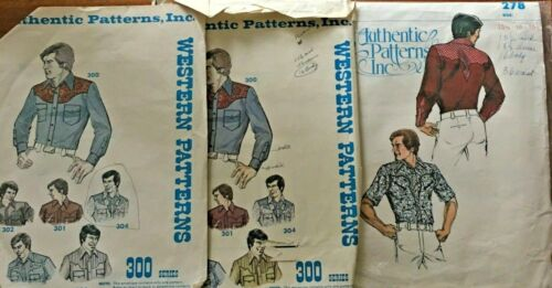 Vintage Authentic Sewing Patterns Mens Western Wear Shirt 16 15.5 Yoke 278 300