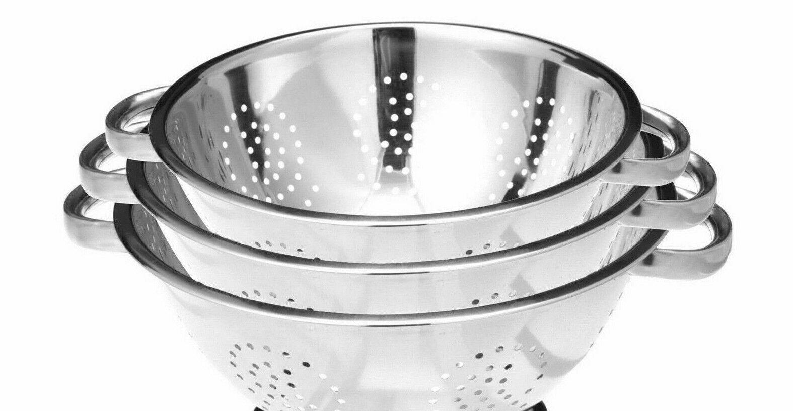 New Stainless Steel Strainer Colander Basket Deep Kitchen Colander Set of 3 Colanders, Strainers & Sifters
