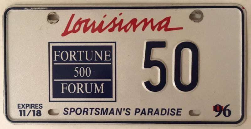 Rare Louisiana Fortune 500 Special Event temporary license plate low number 50