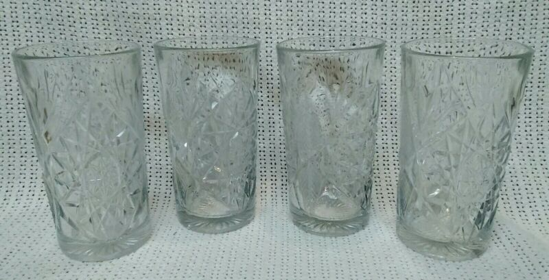 "NEW! Set of 4 Libbey Hobstar 16oz Drinking/Water Glasses, 6"" Tall Thick & Heavy."