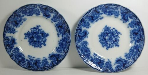 """TWO ALFRED MEAKIN FLOW BLUE ORMONDE 6 1/8"""" BREAD PLATES - HARD TO FIND"""