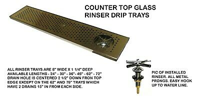 Draft Beer Rinser Drip Tray 62 X 8 W S.s. Grill 4 Metal Drain- Dtw-62ss-r