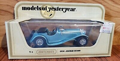 MATCHBOX MODELS OF YESTERYEAR #Y-1 1936 JAGUAR SS100, BLUE  IN BOX - NEW!