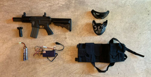 Elite Force M4 CQC - w/ Mag, Battery, Charger, Foregrip, Vest, Goggles, Facemask